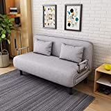 Sofa Bed Twin Size Folding Sofa Bed Portable Sleeper Chaise Lounges with Detachable Armrest,Lroplie Arm Chair Sleeper Leisure Recliner Lounge Couch (Gray (Double))
