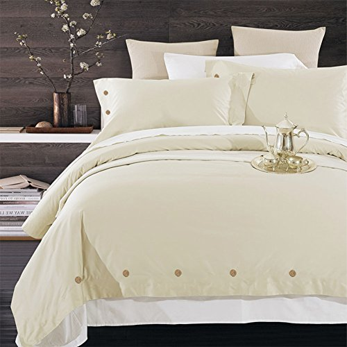 NANKO Duvet Cover Set King, Beige 3pc - 104 x 90 Hotel Bedding Luxury Hypoallergenic Microfiber Comforter Cover with Deco Buttons, Zip, Ties - Best Modern Style for Man and Women Teen