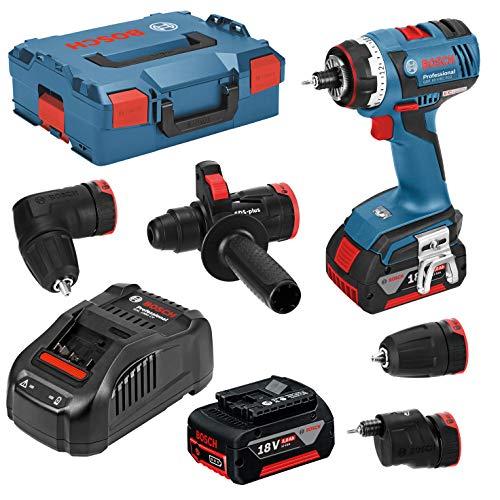 Bosch 06019E1104 FC2 Bohrmaschine/Akku-Bohrschrauber GSR EC FC 2 | FlexiClick 5-in-1-System: mit Bitaufnahme, Bohrfutter, Winkel, Exzenter-und Bohrhammeraufsatz | 18 V, 5 Ah, blau