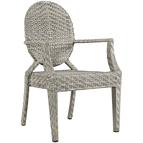 Modway Casper Wicker Rattan Outdoor Patio Dining Arm Chair in Light Gray