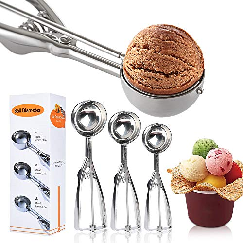 Ice Cream Scoop Set 3 PCS 18/8 Stainless Steel Ice Cream Scoop Trigger Include LargeMediumSmall Size