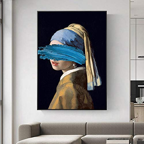 The Girl With A Pearl Earring Canvas Painting Reproductions Obra famosa de Jon Pop Art Prints Poster Imagen de la pared Sala de estar Dormitorio Decoración del hogar