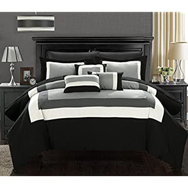 Chic Home Duke 10 Piece Comforter Set Complete Bed in a Bag Pieced Color Block Patterned Bedding with Sheet Set And Decorative Pillows Shams Included, Queen Black