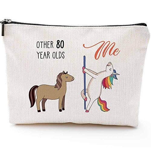 80th Birthday Gifts for Women - 1939 Birthday Gifts for Women, 80 Years Old Birthday Gifts Makeup Bag for Mom, Wife, Friend, Sister, Her, Colleague, Coworker(Makeup bag-80th Unicorn)
