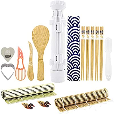 Sushi Making Kits - All In One Sushi Roll Bazooka Maker with 2 Bamboo Mats, 5 Pairs Bamboo Chopsticks, Sushi Paddle, Spreader, Cooking Ring, Chopstick Holder, Handle Onigiri Mold and Avocado Slicer