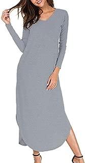 Women Dress, Sexy Womens V-Neck Solid Long Sleeve Loose Dress Evening Party Beach Long Maxi Dress