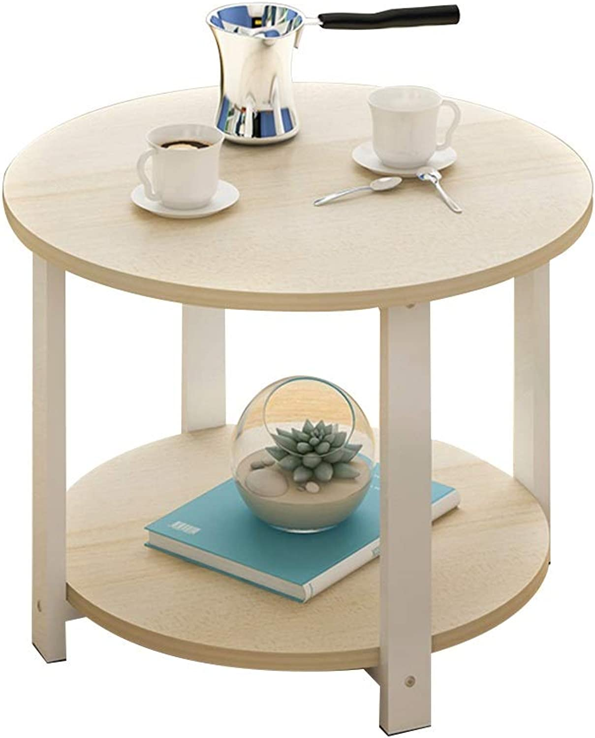 Table Small Coffee Table, Multifunction Snack Table Double Storey Side Table Large Countertop Nordic Style Household Storage Table Small Round Table (Size   60  60  43cm)