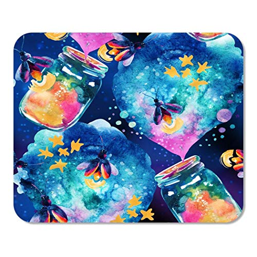Mousepad Computer Notepad Office Abstrakte Märchen Magie Flasche und Firefly Aquarell Laterne Home School Game Player Computer Worker Inch