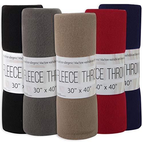 24 Pack of Wholesale Hypoallergenic Microfiber Blankets - 30x40 Fleece Throw Blankets in Bulk