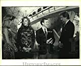 Historic Images - 1993 Press Photo Contestant of Wheel of Fortune Talks to Pat Sajak & Vanna White