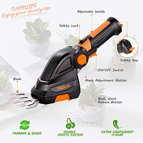TACKLIFE Cordless Grass Shears, 7.2V Shrubbery Trimmer, 2-in-1 Cordless Hedge Trimmer, 3s Tool-Free Blade Change, Fast Charger Included