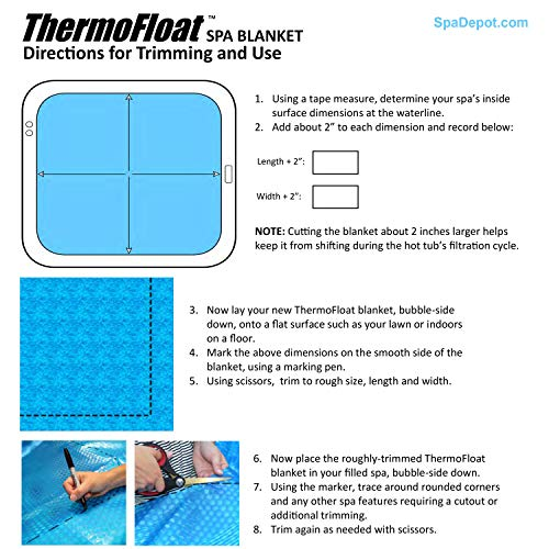 Thermo-Float 16-mil 7ft x 7ft Hot Tub Bubble Cover Floating Spa Blanket - trimmable Heavy-Duty Insulating Solar Heating