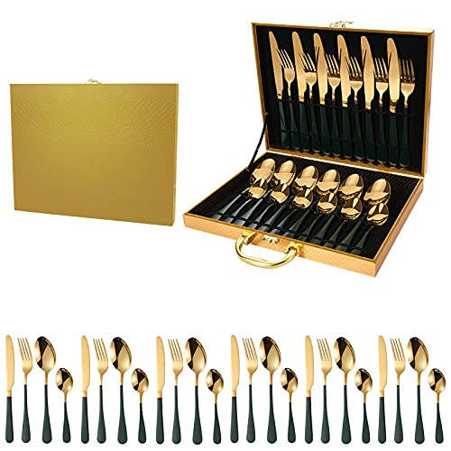 OUDEING Cutlery Set For 6,Conjunto de Cubiertos de 24 Piezas, Conjuntos de Cubiertos de Acero Inoxidable con Cuchillo de Cuchilla Tenedor, Servicio para 6-G 24pcs