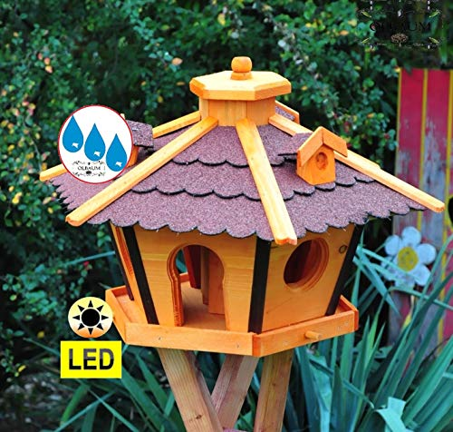 BTV Vogelhaus Massivholz,PREMIUM WETTERFEST, mit Ständer Standfuß und Silo,Futtersilo für Winterfütterung mit Beleuchtung,Licht-LED -Holz Nistkästen & Vogelhäuser- Futterhaus groß ROT mit Ständer rot BRL45roMS - 4