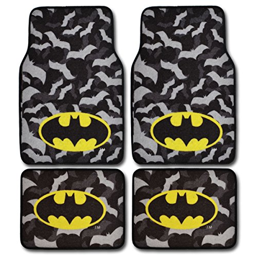 BDK WBMT-2301 WBMT2301 Batman Carpet Floor Mats, 4 Piece, Black/Gray