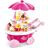 Buyger 39pcs Plastic Ice Cream Cart Play Food Set Shop Toy with Music and Lights Gift for 3 Years Old Girls