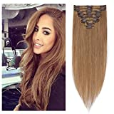 Clip in Hair Extensions Golden Brown 14-24 inch Remy Human Hair for Women 8pcs 18 Clips Full Head Soft Straight Hair(20'=70g #12)