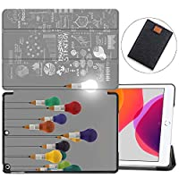"""MAITTAO Case Fit New iPad 10.2"""" / iPad 7th Generation 2019 Case, Trifold Stand Hard Back Shell Smart Cover for iPad 10.2 inch (A2197 A2198 A2200) Tablet Sleeve Bag 2 in 1 Bundle, Creative Bulb 6"""