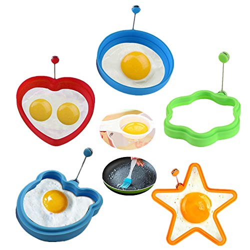 KeepingcooX 5 Pcs Silikon Ei Pfannkuchen Ringe Kreative Omelett Form Für Eier Pfannkuchen Kochen Form - Herz, Blume, Bär, Runde für Frühstück, Plus Egg Separator + Basting Pinsel