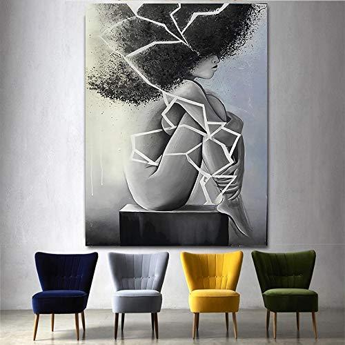 ganlanshu Abstrakter Schwarzweiss-Riss der Frauen- und Plakatwanddekoration im modernen Schlafzimmerhaus,Rahmenlose Malerei,80x120cm