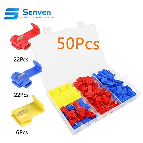 Rojo 20 piezas Azul 20 piezas amarillo 15 piezas Terminales de cables rapida Splice Conectores KINYOOO 54 Pcs Scotch Lock Conector Kit