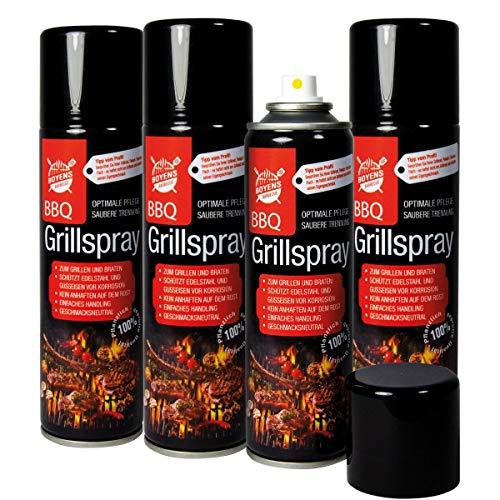 Boyens BBQ-Grillspray (4 Dosen) zum Grillen und Braten Pflegespray für Edelstahl und Gußeisen 200ml Dose Grillspray Trennspray Trennfett Trennmittel