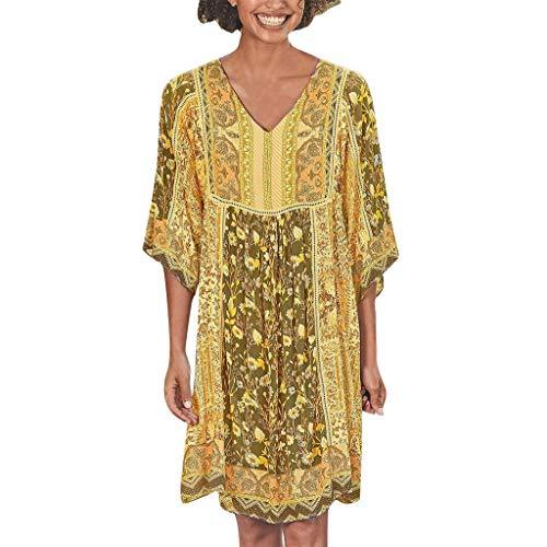 LOPILY Hippie Strandkleid Damen Blumen Gedruckte Sommerkleid 1/2 Arm Talliertes Tunikakleid für Freizeit Lockeres Blusenkleid 50 48 Boho Shirtskleid Damen Lässige Jumper Kleider Übergröße (Gelb, 38)
