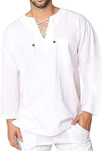Camisas Lino Tradicionales para Hombres Manga Larga Cuello En ...