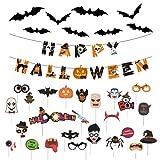 Young & Ming 38 PCS Decoración de Halloween de Horror-1 Banner de Fiesta & 12 Pegatinas de Murciélagos Aterrador 3D PVC & 25 Accesorios para Selfies Cabina de Fotos Accesorios de Halloween
