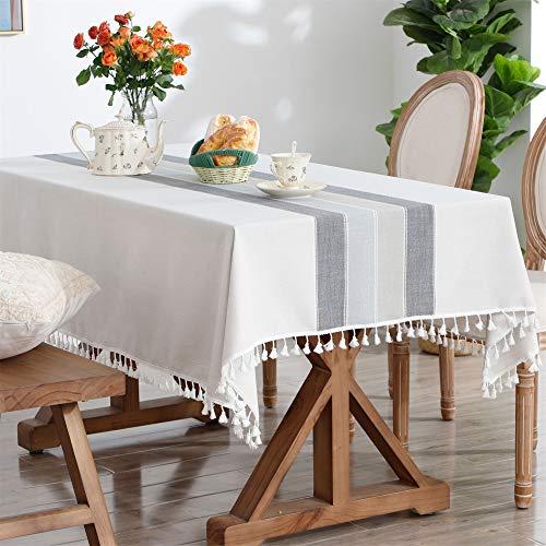 長方形6席テーブルクロスコットンリネン刺繍ステッチタッセルテーブルカバー用家の装飾パーティー結婚式屋外グレー 140x220CM