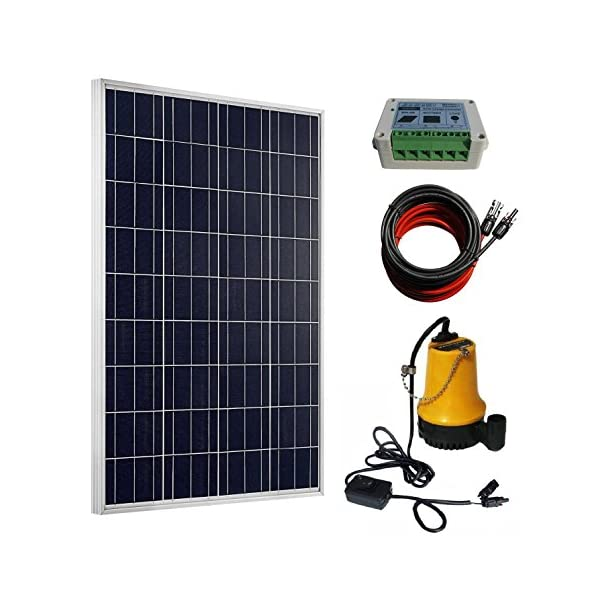 ECO-WORTHY 100W Solar Water Pump Kit – 100W Solar Panel + 12V Water Pump + 20A LCD Display PWM Controller + Pair of…