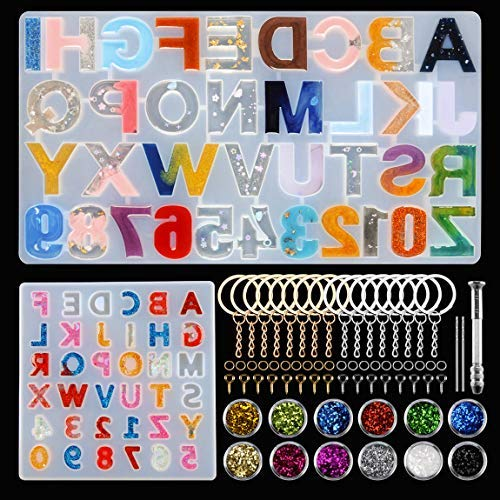 Alphabet Resin molds Reversed 255 pcs Letter Number Silicone Resin molds with Hand Drill epoxy Resin Casting molds for Charms, Keychain, Necklace, Earrings