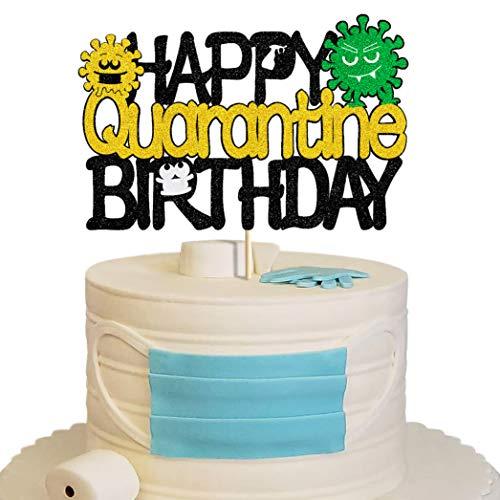 Glorymoment Happy Quarantine Birthday Cake Topper Women, Glitter Black Social Distancing Birthday Cake Topper for Baby Boy Girl Man, Cake Decorations for Quarantine Themed Birthday Party Decor (6.7'' x 4.37'')