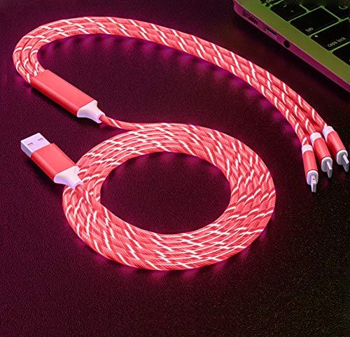 LED fließende magnetische Ladekabel leuchten Candy Moving Shining Ladegerät Telefon Ladekabel magnetische Streamer Absorption USB Snap Quick Connect 3 in 1 USB-Kabel