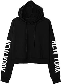 Women Hoodie Sweatshirt, Fall Womens New York Letters Long Sleeve Pullover Short Tops T Shirt