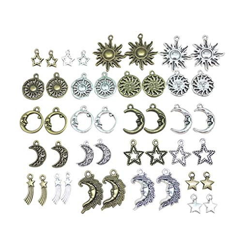 85 Pieces Charms Celestial Mixed Sun Moon Star Charms Antique Alloy Charms Pendants for DIY Necklace Bracelet Jewelry Making Crafting