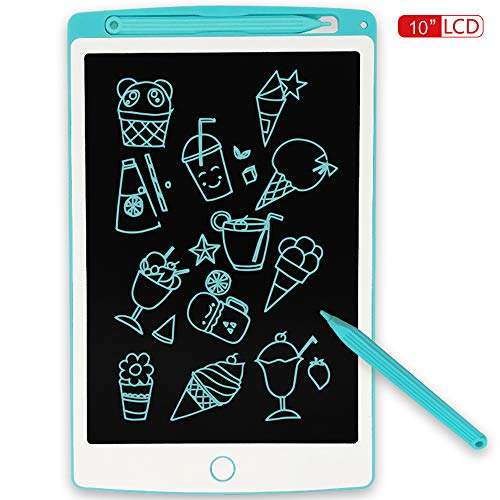 JONZOO LCD Writing Tablet, 10 inch Electronic Doodle Board Kids Drawing Board, Digital Handwriting Pad with Screen Lock, erasable Reusable eWriter Paper-Saving Tool for Home/School/Office, Blue