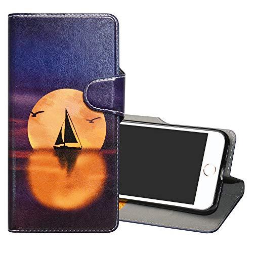YCGG iPhone 7/8 Funda, 3D Dibujos Carcasa de Cuero sintético con Soporte Plegable y Ranuras Tarjetas Caso Cover para Apple iPhone 7/ iPhone 8(Not fit iPhone 7 Plus/iPhone 8 Plus),Sailboats & Moon
