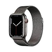 Apple Watch Series 7 (GPS + Cellular) Cassa 41 mm in acciaio inossidabile color grafite con Loop in maglia milanese