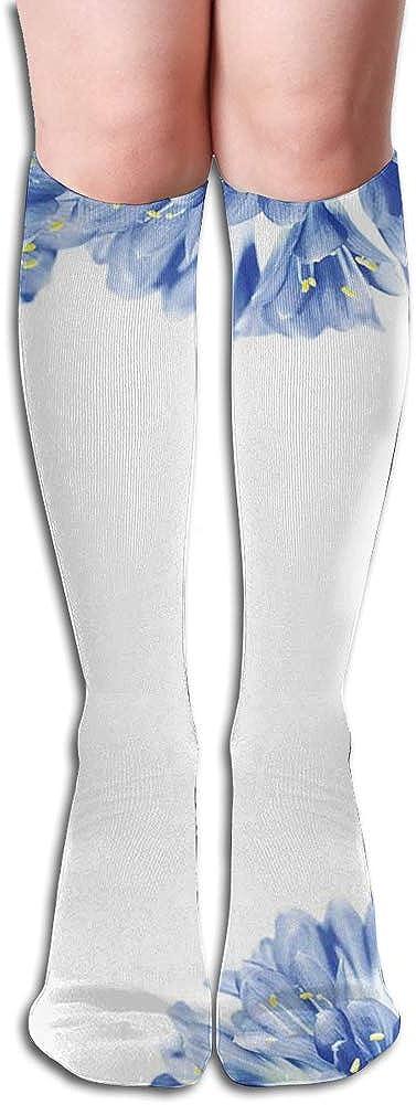 Men's and Women's Funny Casual Combed Cotton Socks,Fresh Delicate Crocus Petals Border Springtime Gardening Plants