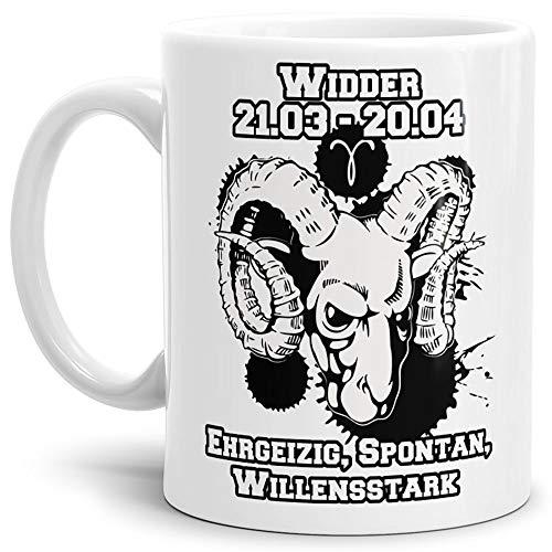 Tassendruck Sternzeichen-Tasse Widder - Weiss - Geburtstag/Astronomie/Sternen-Bilder/mit Spruch/Witzig/Kaffeetasse/Mug/Cup - Qualität Made in Germany