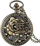 SILOLA Exquisito Reloj Bolsillo Bronce, Delicado patrón Flores con Accesorios Jaula pájaros Relojes Bolsillo, práctico Reloj Colgante Cadena delgaregalos para Hombres Mujeres Niños
