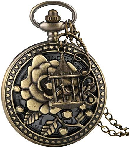 SILOLA Exquisito Reloj Bolsillo Bronce, Delicado patrón Flores con Accesorios Jaula pájaros...