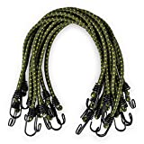 Bungee Cord Akamino 12 Pack Adjustable Bungee Cords with Metal Hooks for Outdoor Camping, 60CM, Green