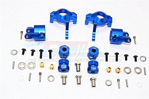 GPM Axial RR10 Bomber & Wraith Upgrade Parts Aluminum Front C-Hub & Knuckle Arm (5 Degree Caster) - 4Pcs Set Blue