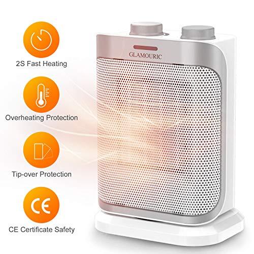 GLAMOURIC Mini Keramik Heizlüfter, PTC Keramikheizer, 2 einstellbare Leistungsstufen 750W/1500W mit Überhitzungsschutz, Ventilatorfunktion (Weiß)