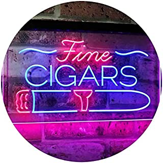 ADVPRO Fine Cigars Shop Smoking Room Man Cave Dual Color LED Neon Sign Blue & Red 16