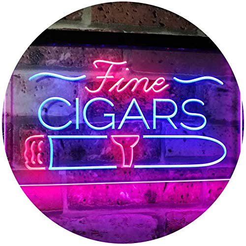 ADVPRO Fine Cigars Shop Smoking Room Man Cave Dual Color LED Neon Sign Blue & Red 16' x 12' st6s43-i2510-br