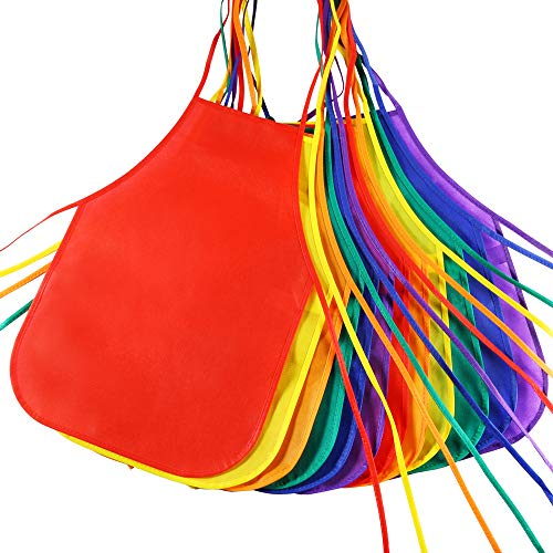 Pllieay 12 Pieces 6 Colors Fabric Aprons for 5-10 Years Non Woven Kids Artist Apron Applied in Kitchen, Classroom, Community Event, Party, Crafts and Art Painting Activity