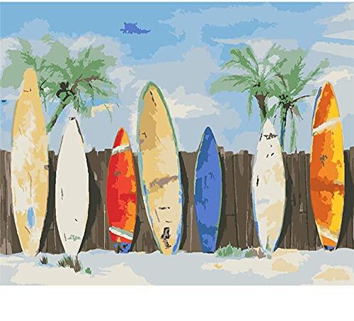 Guume Pintura por números, Tabla de Surf, Juego de Pintura al óleo DIY, 40x50cm, Lienzo, decoración sin Marco, Sala de Estar, Dormitorio, Principiante